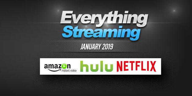 Streaming on Amazon Prime, Hulu and Netflix in January 2019